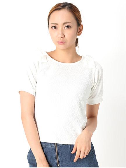 商品画像:肩リボンジャガードプルオーバー肩リボンジャガードプルオーバー(ホワイトM)3125525540101