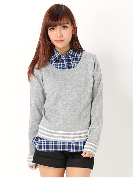 商品画像:【CECIL PRESS掲載】ラインニット+チェックシャツSETラインニット+チェックシャツSET(グレーM)3120600240111