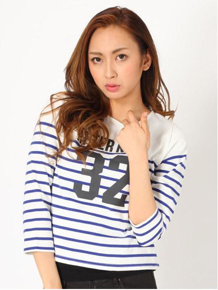 商品画像:32プリント入りボーダーロンTシャツ   32プリント入りボーダーロンTシャツ(ネイビーF)235252086052
