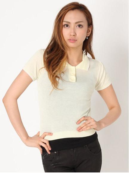 商品画像:シルク混ニットポロシャツシルク混ニットポロシャツ(イエローF)3520302940021