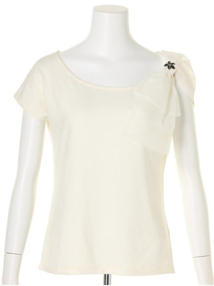 商品画像:ビジュー付きBIGオーガンリボンTシャツビジュー付きBIGオーガンリボンTシャツ(ホワイトF)3525505040001
