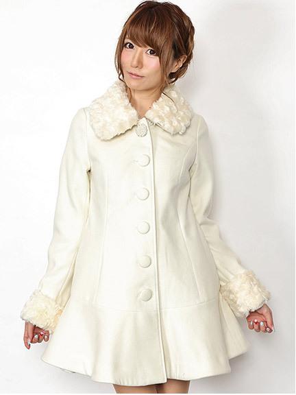 商品画像:14.AW  ビジューボタン付き裾フレア切替コート14.AW  ビジューボタン付き裾フレア切替コート(アイボリーM)4040801640102