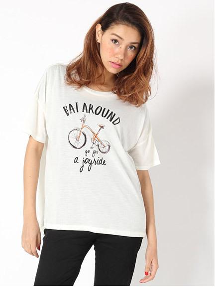 商品画像:自転車プリントゆるTシャツ自転車プリントゆるTシャツ(ネイビーF)3325114140052