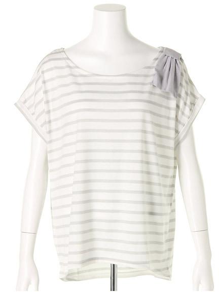 商品画像:肩リボンボーダーTシャツ肩リボンボーダーTシャツ(グリーンF)3325453540061