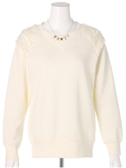 商品画像:ネックレス付き肩チュールトレーナーネックレス付き肩チュールトレーナー(オフホワイトF)3325549340003