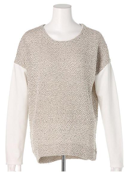 商品画像:袖切り替えカットツイードプルオーバー袖切り替えカットツイードプルオーバー(オフホワイトF)3325549940003