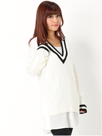 商品画像:ラインニット+シャツ裾チュニックSETラインニット+シャツ裾チュニックSET(ホワイトM)3420633140101