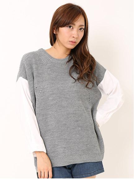 商品画像:シャツ袖切替ニットシャツ袖切替ニット(グレーF)3620681940011